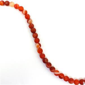 90cts Dyed Red Stripe Agate Matte Rounds Approx 6mm, 38cm Strand