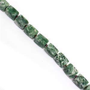 215cts Green Jasper Faceted Rectangles Approx 10x14mm, 20cm strand