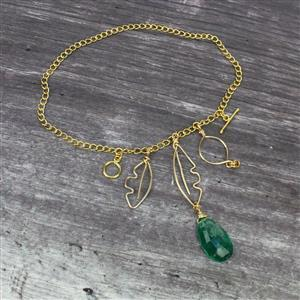 Simple Elegance; 3 x Clear Quartz Emerald Colour Drilled Triplet, Wire & Findings