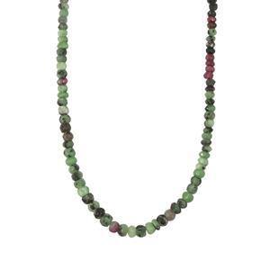 57ct Ruby-Zoisite Sterling Silver Bead Necklace