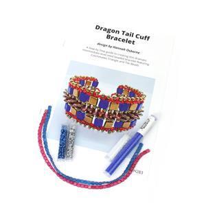 Dragon Tail Electric Blue;  Czechmates Tile Beads x2, Triangle Beads x2, Miyuki 11/0 & 8/0