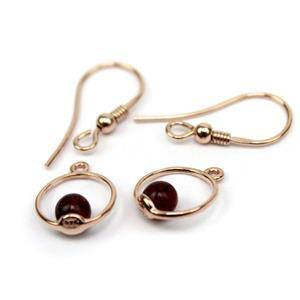 Baltic Cherry Amber Rose Gold Plated Sterling Silver Circle Earrings, Approx. 12mm