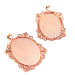 Rose Gold Fancy Oval Colour Bezel Pendant Approx 38x54mm (Set of 2)