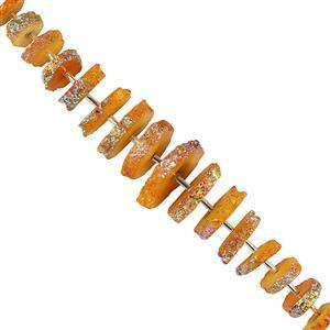 190cts Mystic Coated Yellow Solar Quartz Graduated Rough Wheels Approx 11x3 to 24x4mm, 12cm Strand.