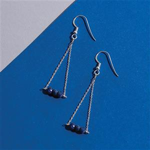 925 Sterling Silver Trapeze Earrings Kit With Lapis Lazuli  Rondelles (1pair)