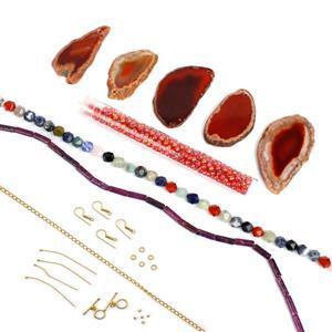 Red Rocket; Red-Orange Agate, Lepidolite Tubes, Multi-gem Star Cut, Miyuki 6/0, Findings