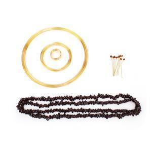 Cherry Red; Oval Garnet Gold Flash Sterling Silver Headpins, Garnet Nuggets, Memory Wire