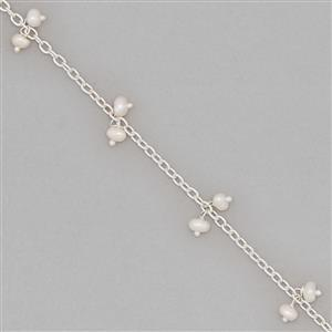 1m Silver Plated Brass Cluster Chain Inc. Freshwater Cultured Pearl Approx 3x2mm