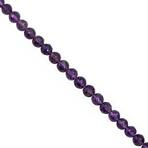 45cts Amethyst Faceted Round Approx 3 to 5mm, 32cm Strand