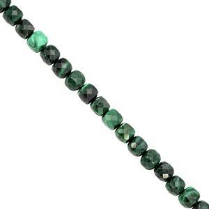 105cts Malachite Faceted Cube Approx 4 to 4.5mm, 38cm Strand