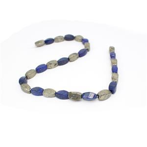 285cts Pyrite and Lapis Lazuli Swirl Drums Approx 7x14mm, 15