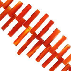 295cts Orange Chalcedony Graduated Plain Bars Approx 16x5 to 41x6mm, 18cm Strand.