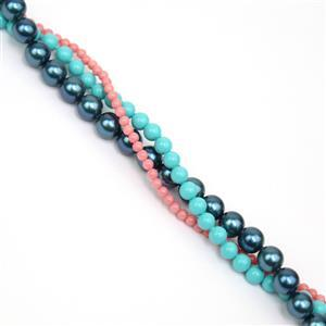 3 x 38cm Strands Round Shell Pearls (Inc: 2mm Coral, 4mm Turqouise, 6mm Teal)
