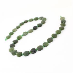120cts Canadian Nephrite Faceted Coins Approx 10mm, 38cm Strand