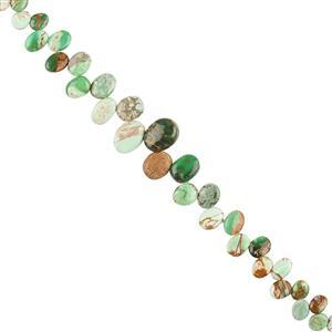 40cts Natural Australian Variscite Graduated Plain Top Drilled Ovals Approx 4x3 to 11x8mm, 20cm Strand.