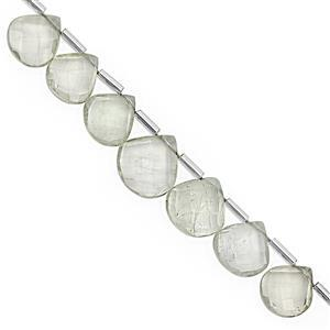 75cts Green Amethyst Top Side Drill Graduated Faceted Heart Approx 8.50 to 16mm, 20cm Strand with Spacers