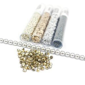 Sky's the Limit; Kite Beads, SuperDuos, Fire Polished Bead, Shell Pearl, Miyuki 8/0 & 11/0