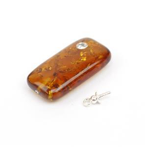 Baltic Cognac CZ Inset Amber Rectangle Pendant with Sterling Silver Peg, Approx. 23x12mm