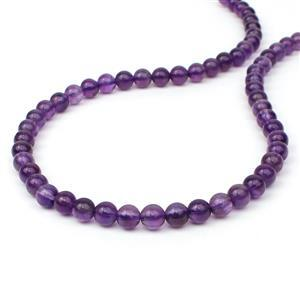 110cts Amethyst Plain Rounds Approx 6mm, 38cm Strand