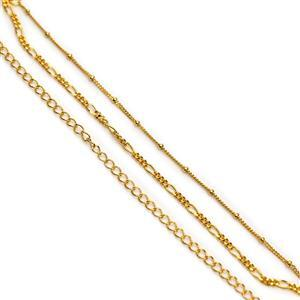 Gold Plated 925 Sterling Silver Triple Chain Bracelet Approx 18cm + 3cm Extender Chain (Beaded Curb, Curb & Figaro)
