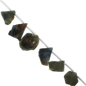 45cts Bi-Colour Sapphire Flat Fancy Slices Approx 12x10 to 22x17mm, 9.5cm Strand With Spacers