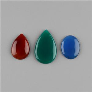 138cts Green, Red & Blue Onyx Multi Shape Cabochons Assortment. (3pcs)