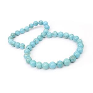 240cts Dyed Blue Magnesite Plain Rounds Approx 10mm, 38cm Strand