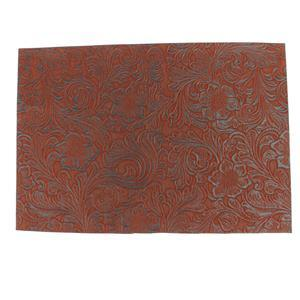 Synthetic-Leather Flocked Flower Print - Brown on Black 8x10.5in