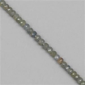 40cts Silver Coloured Sapphire Graduated Faceted Rondelles 2x1 to 4x3mm, 19cm Strand.