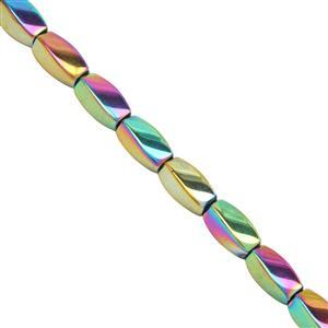 195cts Rainbow Twister Coated Haematite Smooth Fancy Approx 11x5mm, 40cm Strand