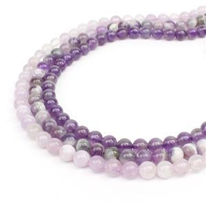 299cts African Amethyst, Lavender Amethyst, Banded Amethyst Plain Round Approx 6mm, 38cm (Set of 3)