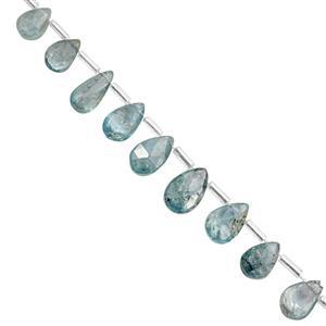 32cts Blue Zircon Top Side Drill Faceted Pear Approx 5x3 to 10x6mm, 15cm Strand With Spacers
