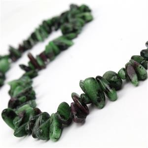 360cts Ruby Zoisite Long Chips Approx 3x11 - 7x15mm, 38cm Strand