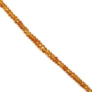 20cts Natural Brazilian Mandarin Garnet Graduated Faceted Rondelles Approx 2x1 to 4x2mm, 18cm Strand.