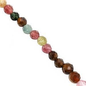 15cts Multi-Colour Tourmaline Faceted Round Approx 2 to 3mm, 40cm Strand