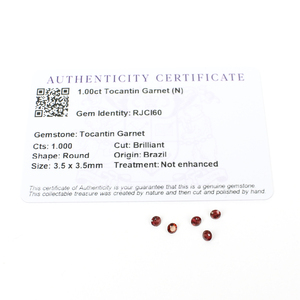 1cts Tocantin Garnet 3.5x3.5mm Round Pack of 5 (N)