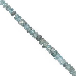 50cts Blue Zircon Graduated Faceted Rondelle Approx 3x1.5 to 5.5x3mm, 17cm Strand