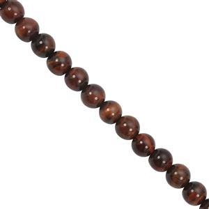 80cts Red Tigers Eye Smooth Round Approx 5 to 6mm, 28cm Strands