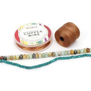 Treasure Island; Amazonite & Blue-Green Magnesite Faceted Rondelles, S-Lon & Wire