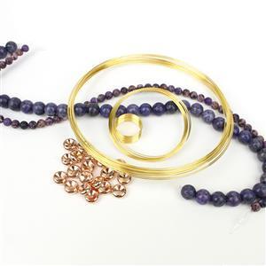 Ultraviolet: Lavender Jasper 10mm, Purple Terra Jasper 6mm, Memory Wire, Spacers 10mm 20pk