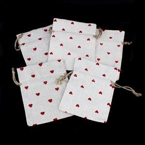 Red Heart Print Cotton Linen Bags  Approx 13x 9cm - 5pk