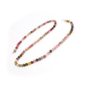 35cts Multi-Colour Tourmaline Faceted Rounds Approx 4mm, 38cm Strand