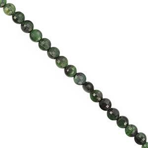 28cts Dyed Green Tiger Eye Faceted Coin Approx 4 to 4.50mm, 30cm Strand