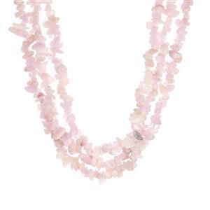601.10ct Kunzite Sterling Silver 3 Strand Necklace