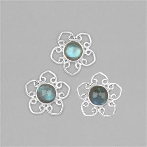 925 Sterling Silver Flower Charms Approx 18mm Inc. 6cts Labradorite Round Cabochon Approx 8mm (3pcs)
