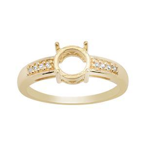 Gold Plated 925 Sterling Silver Round Ring Mount (To fit 7mm gemstone) Inc. 0.09cts White Zircon Brilliant Cut Round 1.20mm - 1pcs