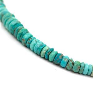 45cts Sleeping Beauty Turquoise Graduated Faceted Wheels Approx 3x1 to 8x3mm, 20cm Strand