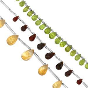 55cts Garnet, Peridot & Citrine Faceted Drops Approx 5.5x3.5 to 12.5x9mm, 8cm Strand with Spacers (Pack of 3)