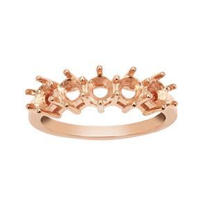 Rose Gold Plated 925 Sterling Silver Ring Mount (To fit 4mm Round gemstones) 1Pcs