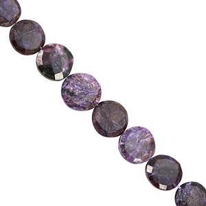 85cts Charoite Centre Drill Graduated Faceted Coin Approx 12 to 16mm, 18cm Strand